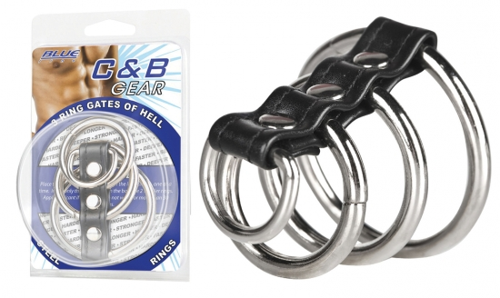 BLUE LINE C&B GEAR 3 Ring Gates Of Hell Stahlringe - Farbe: PVC & Metall